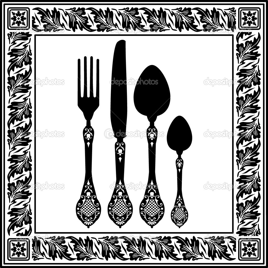 Menu card design with cutlery — stock vector