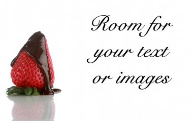 Chocolate covered strawberries on white with reflections and room for your text or images