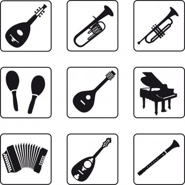 Musical instruments black silhouettes in a nine square grid clip art vector