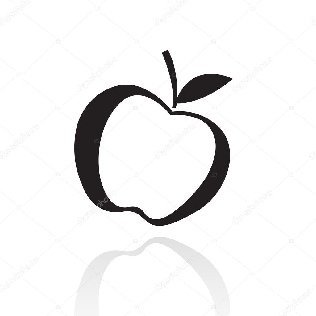 черно белое яблоко картинка