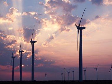 Wind turbines farm. Alternative energy source. stock vector