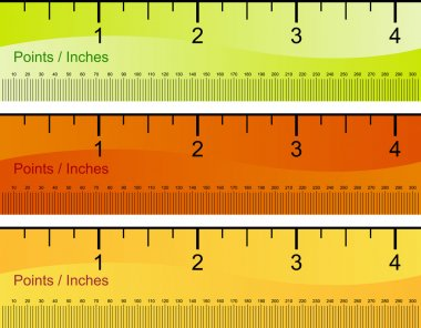 Points Inches Ruler Set