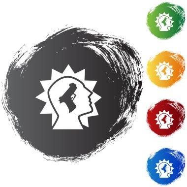 A set of icons representing a gunshot injury. stock vector