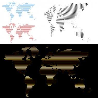 World Map Line Screen