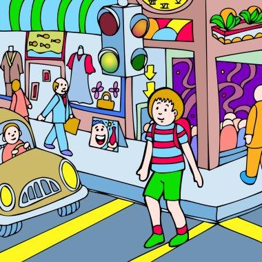Child walks across the street
