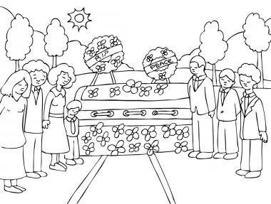 Mourn a lost loved one at an outside funeral. stock vector