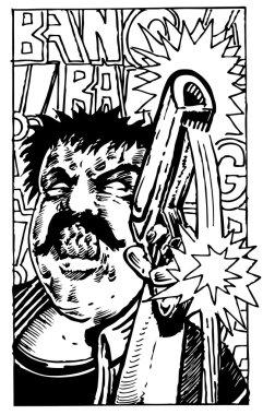 Man shooting a gun in a comic book style. stock vector