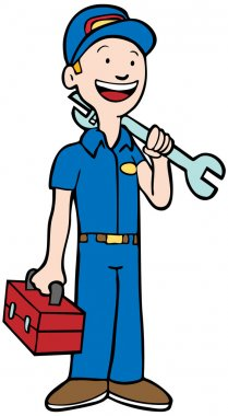 Professional repairman cartoon character with tools of the trade. stock vector