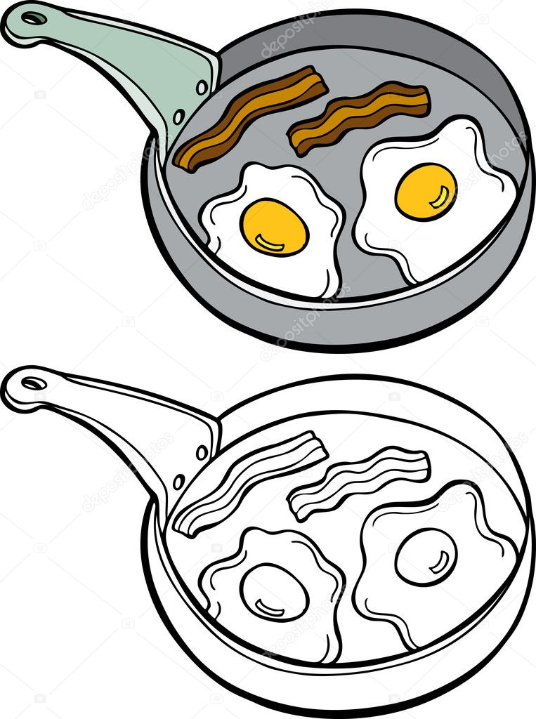 Clipart: bacon black and white | Bacon and Eggs — Stock ...