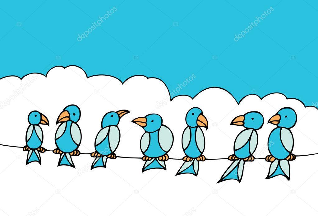 Birds on Telephone Wire — Stock Vector © cteconsulting #3985679