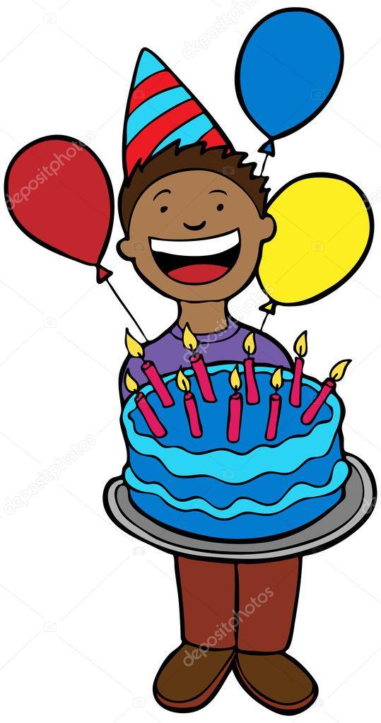 Verjaardag Kind Met Cake Stockvector C Cteconsulting 3985693