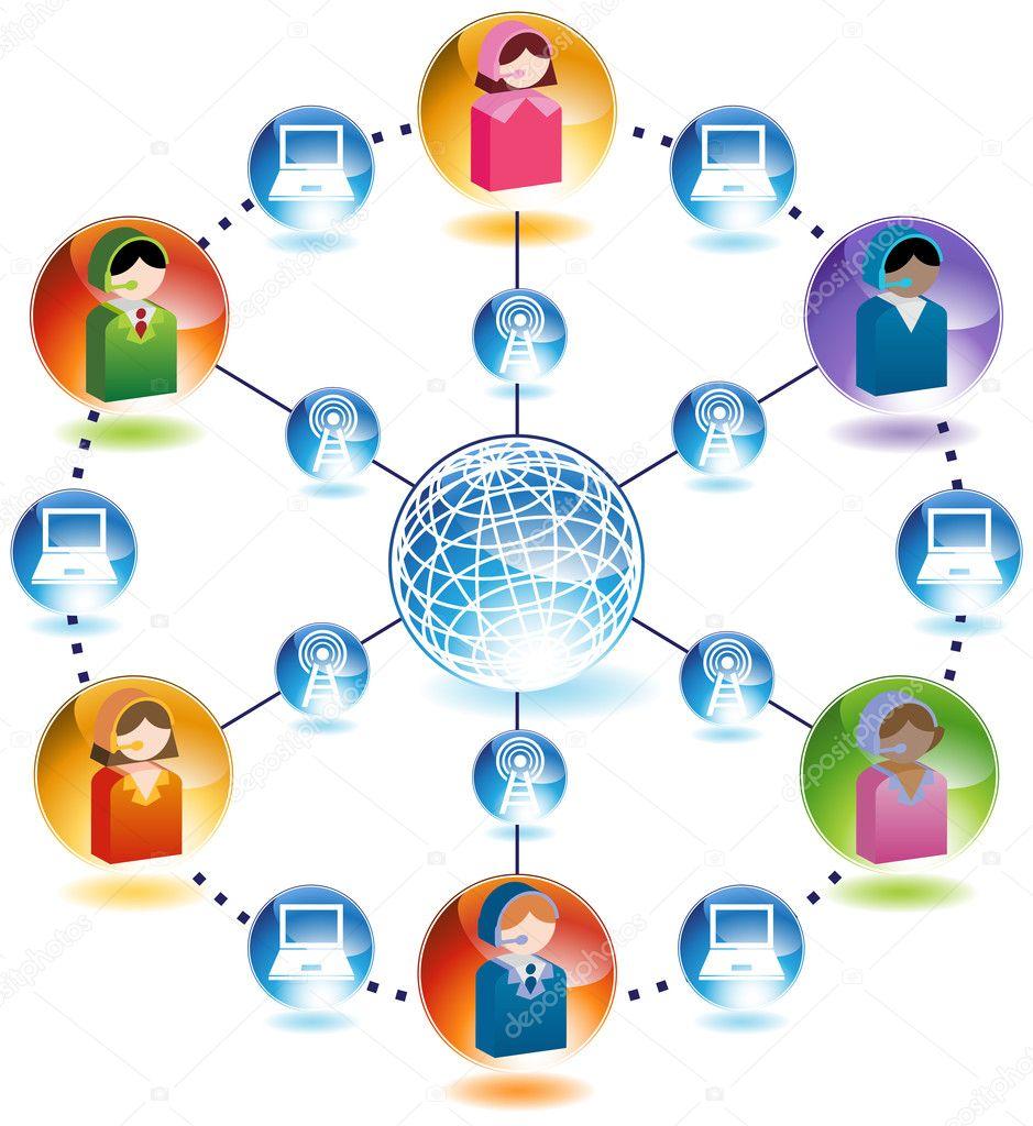 globale Business-Netzwerk für Kommunikation — Stockvektor ...