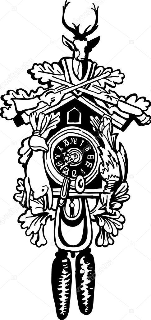 Imágenes Cucu Para Dibujar Reloj Cucú Vector De Stock