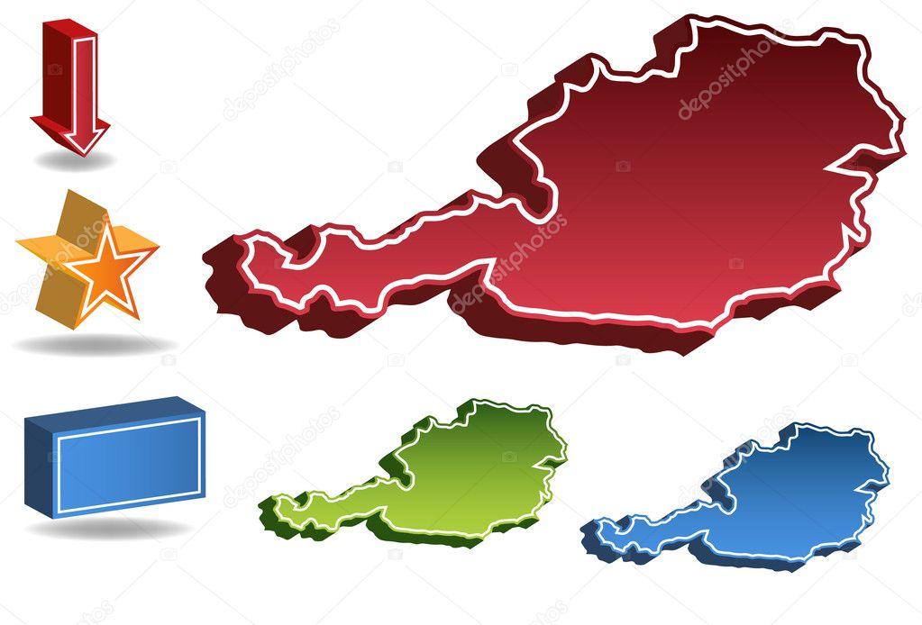 3d Karte Osterreich.3d Osterreich Land Karte Stockvektor C Cteconsulting 3989279