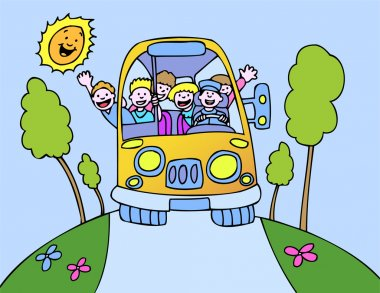 Taking a fun bus ride on a beautiful day. clip art vector