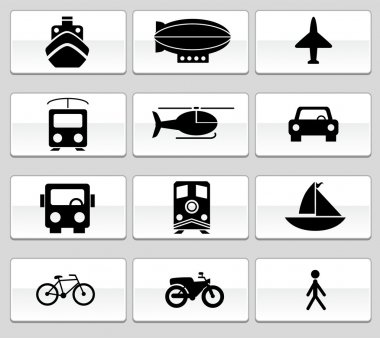 Transportation Buttons - Black and White
