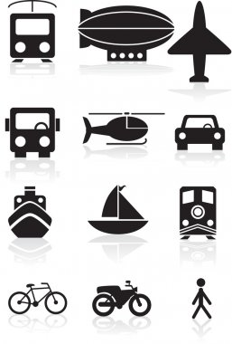 Transportation Icons - black and white