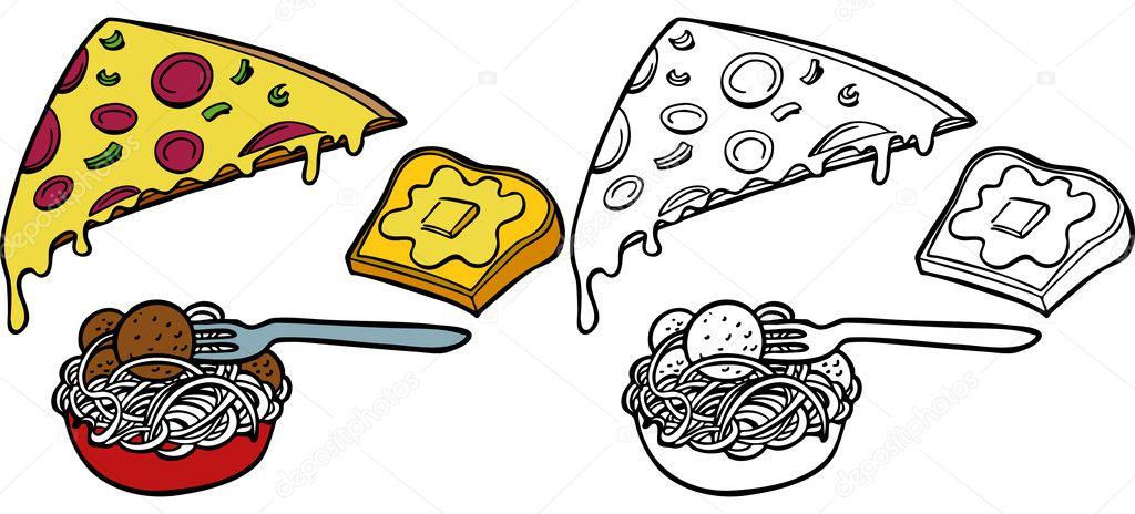 Pasta Pizza Garlic Bread Set Stock Vector C Cteconsulting 3990020