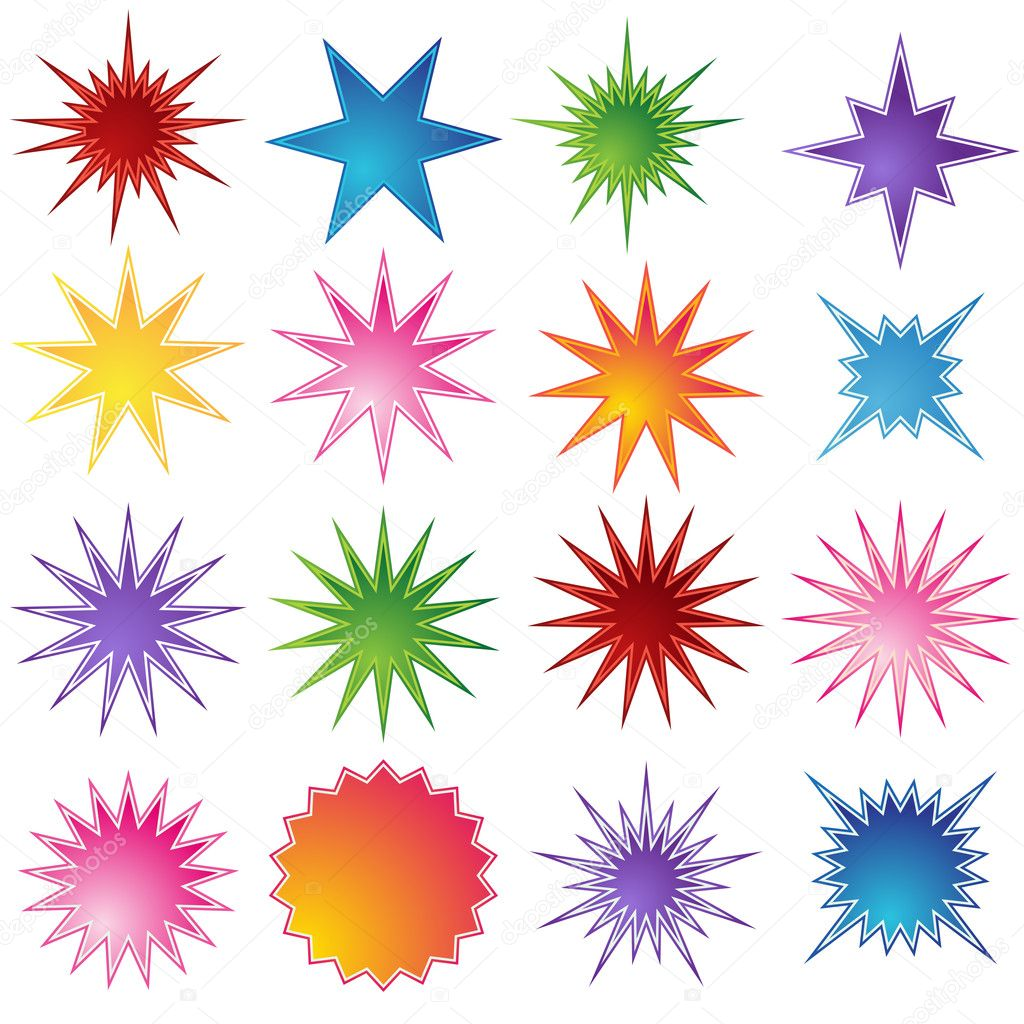 set of 16 starburst shapes stock vector cteconsulting 3990945