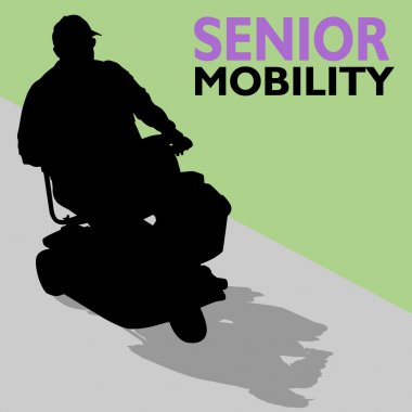 Elderly Senior Man Riding Scooter