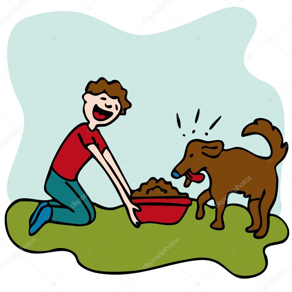 Man Feeding Dog Food