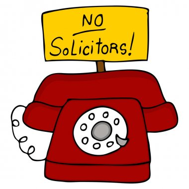 An image of a telephone with a no solicitors sign. clip art vector