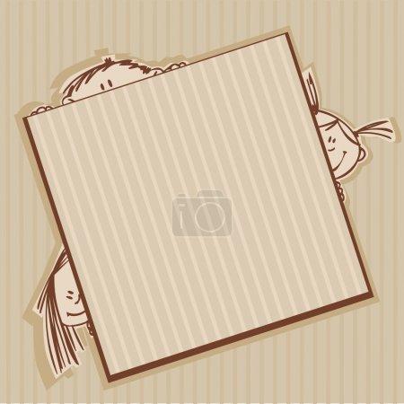 Illustration pour Cadre brun avec des enfants drôles - image libre de droit
