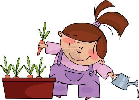 Illustration pour Funny fille pousse des carottes - image libre de droit