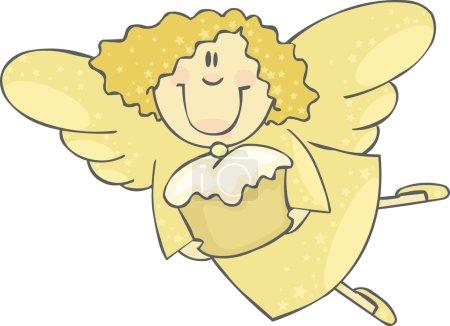Illustration pour Ange jaune avec gâteau - image libre de droit