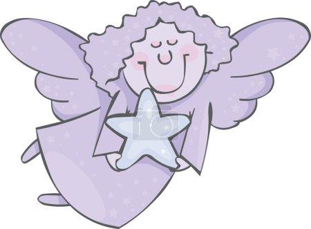 Illustration pour Ange bleu avec étoile - image libre de droit
