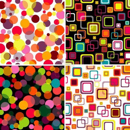 Illustration for Four seamless patterns colorful circles and squares (vector EPS 10) - Royalty Free Image