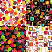 Four seamless patterns colorful circles and squares (vector EPS 10)