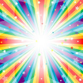 Abstract rainbow background with rays and stars (vector EPS 10)