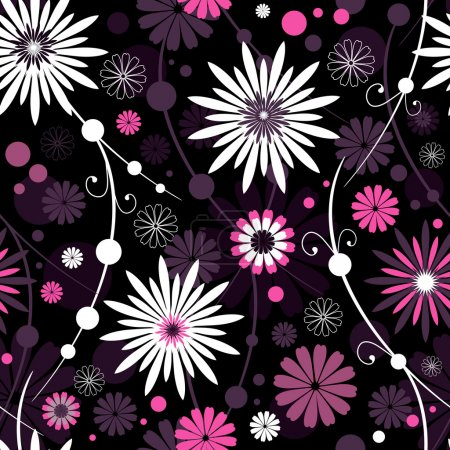 Illustration for Seamless dark floral pattern with flowers and balls (vector) - Royalty Free Image