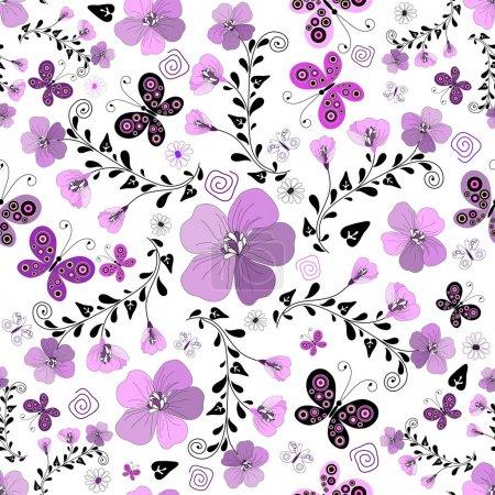 Illustration for Seamless floral white pattern with violet flowers and butterflies (vector) - Royalty Free Image