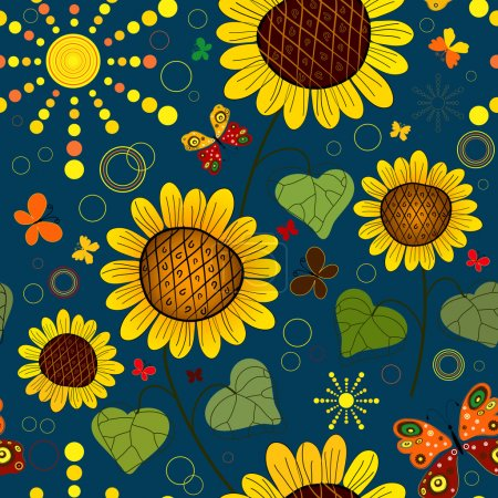 Illustration for Seamless floral dark blue summer pattern with sunflowers, the sun and butterflies (vector) - Royalty Free Image