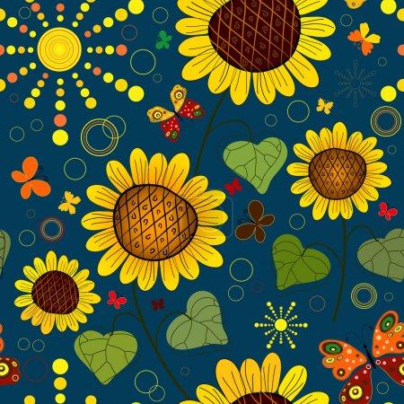 Seamless floral dark blue summer pattern