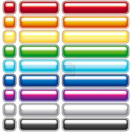 Illustration for A set of colored buttons for Web Design - blend only. All objects fully editable and are on separate layers - Royalty Free Image