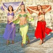 Beautiful belly dancers on the ancient stairs of K...