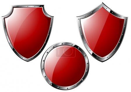 Set of red steel shields