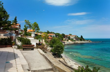 View of city Old Nessebar and sea