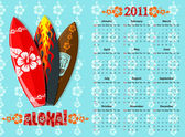 American blue Aloha vector calendar 2011 with surf boards starting from Sundays
