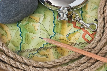 Topographic maps and flask
