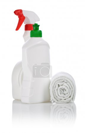 Bottles with roll of towel