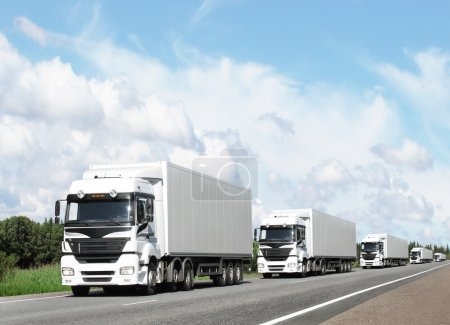 Photo for Caravan of white trucks on country highway under blue sky - Royalty Free Image