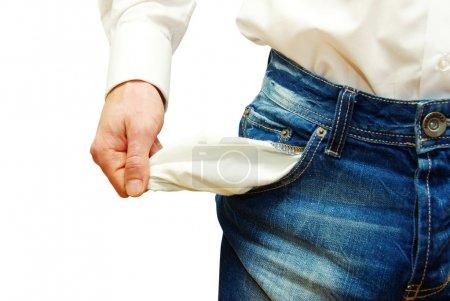 Photo pour Homme d'affaires avec poches vides sur blanc - image libre de droit