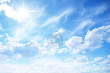 Photo for Blue sky background with tiny clouds - Royalty Free Image