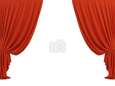 Foto de Cortina 3d clásica roja sobre el fondo blanco - Imagen libre de derechos