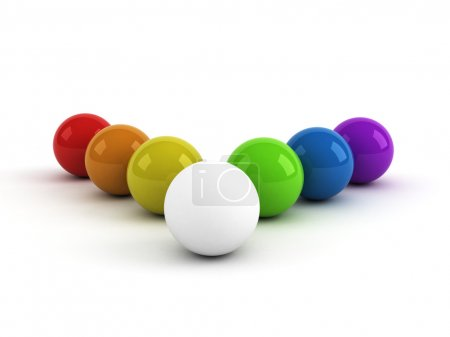 Rainbow colored balls and one white...