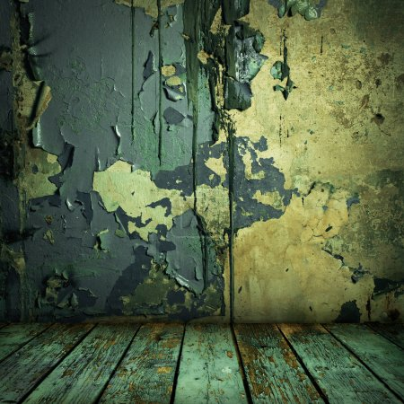 Photo for Grunge painted wall and wooden floor in a room - Royalty Free Image